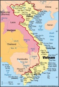 carte cambodge et vietnam