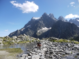 Le Pelvoux (3946 m) depuis le Lac Tuckett.